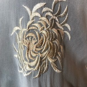 Zara Tops - Zara shear white gold floral embroidered top